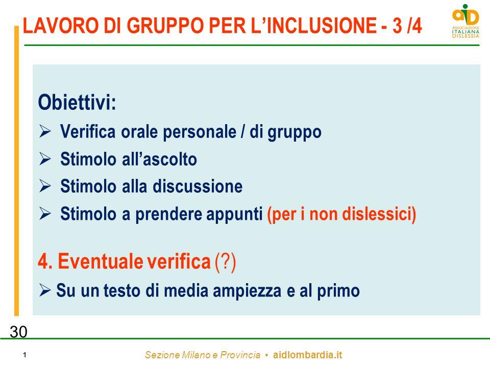 Sezione Milano e Provincia aidlombardia.it 1 LAVORO DI GRUPPO PER L'INCLUSIONE - 3 /4 Obiettivi:  Verifica orale personale / di gruppo  Stimolo all'