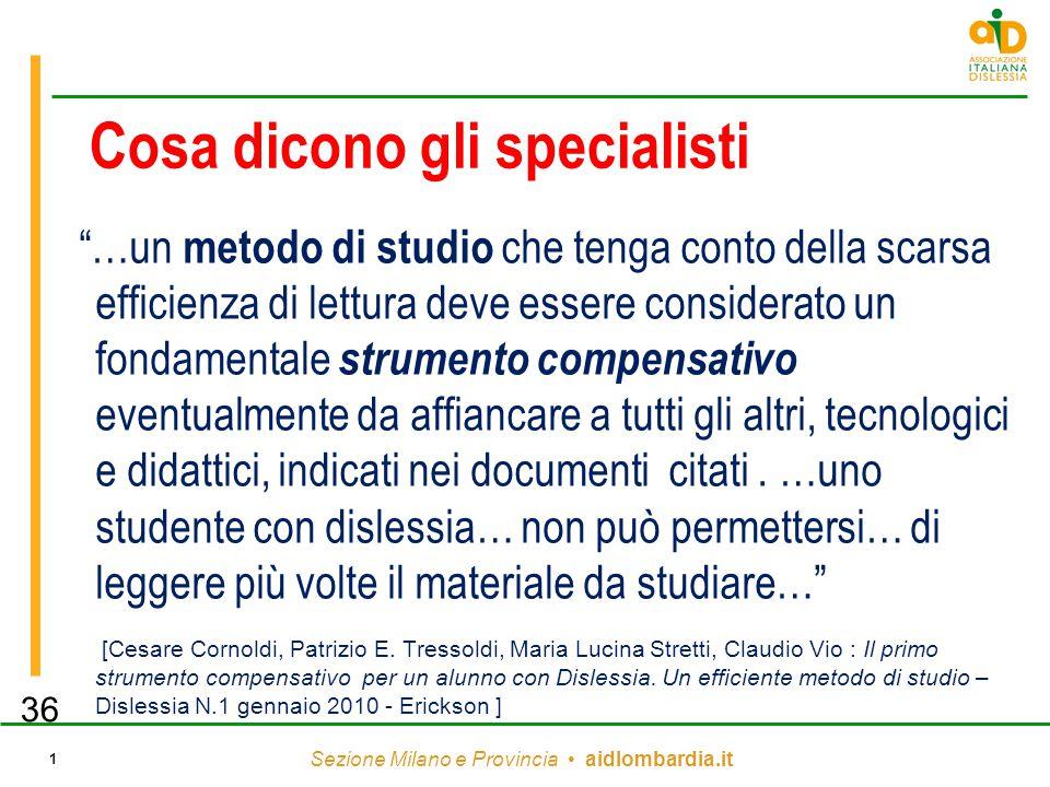 """Sezione Milano e Provincia aidlombardia.it 1 Cosa dicono gli specialisti """"…un metodo di studio che tenga conto della scarsa efficienza di lettura deve"""