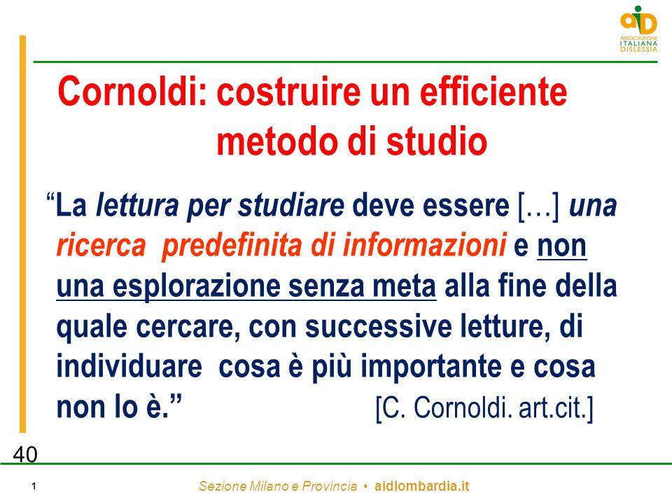"""Sezione Milano e Provincia aidlombardia.it 1 Cornoldi: costruire un efficiente metodo di studio """" La lettura per studiare deve essere […] una ricerca"""