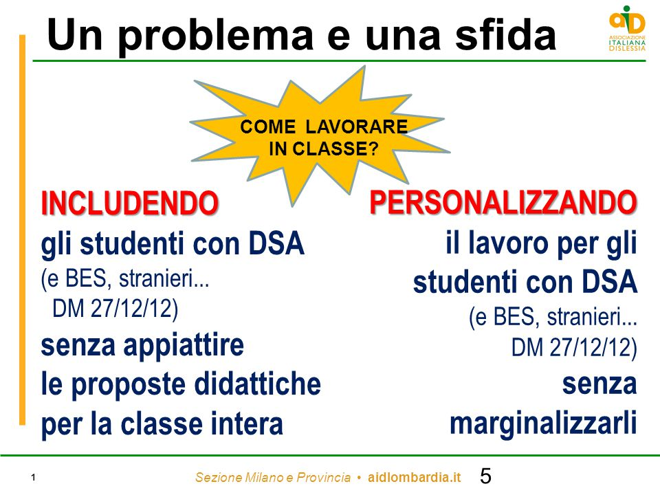 Sezione Milano e Provincia aidlombardia.it 1 Un problema e una sfidaINCLUDENDO gli studenti con DSA (e BES, stranieri... DM 27/12/12) senza appiattire