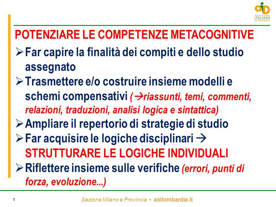 Sezione Milano e Provincia aidlombardia.it 1  Far capire la finalità dei compiti e dello studio assegnato  Trasmettere e/o costruire insieme modelli
