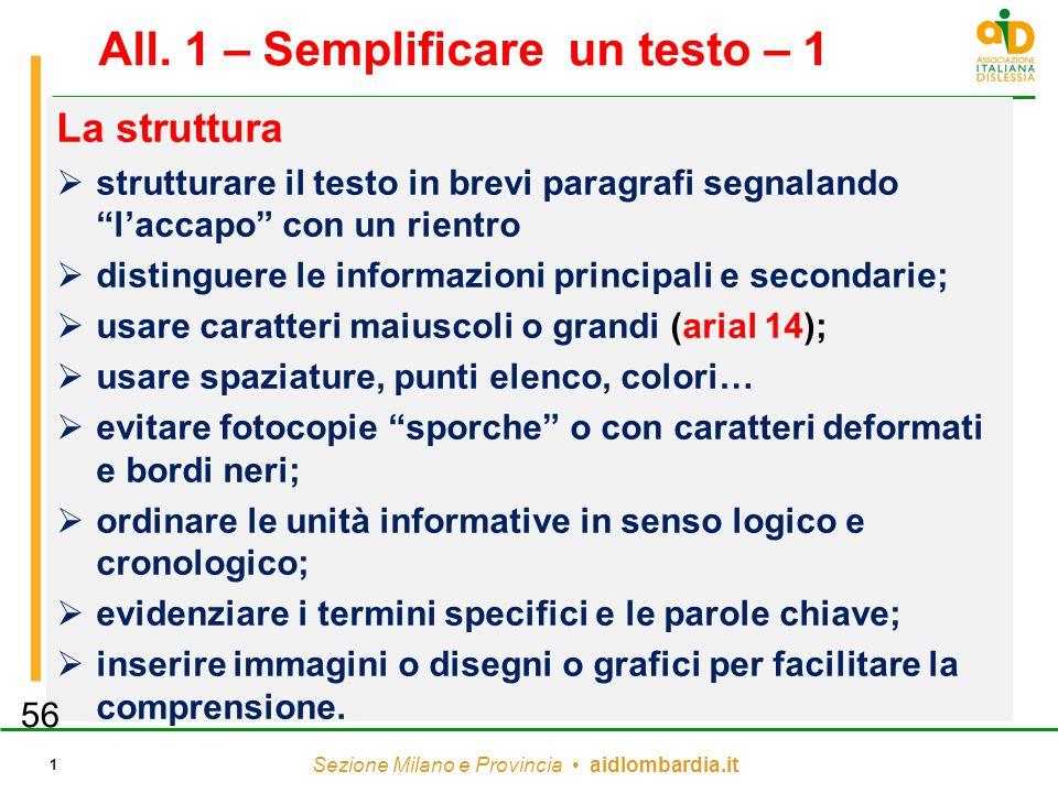 """Sezione Milano e Provincia aidlombardia.it 1 All. 1 – Semplificare un testo – 1 La struttura  strutturare il testo in brevi paragrafi segnalando """"l'a"""