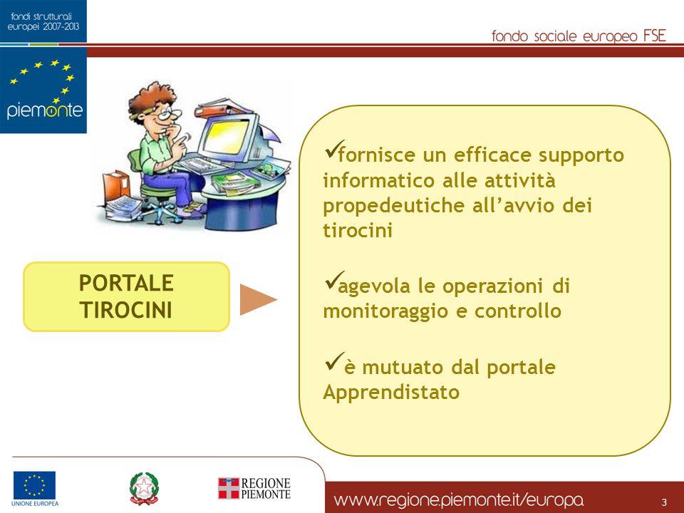 PORTALE TIROCINI fornisce un efficace supporto informatico alle attività propedeutiche all'avvio dei tirocini agevola le operazioni di monitoraggio e