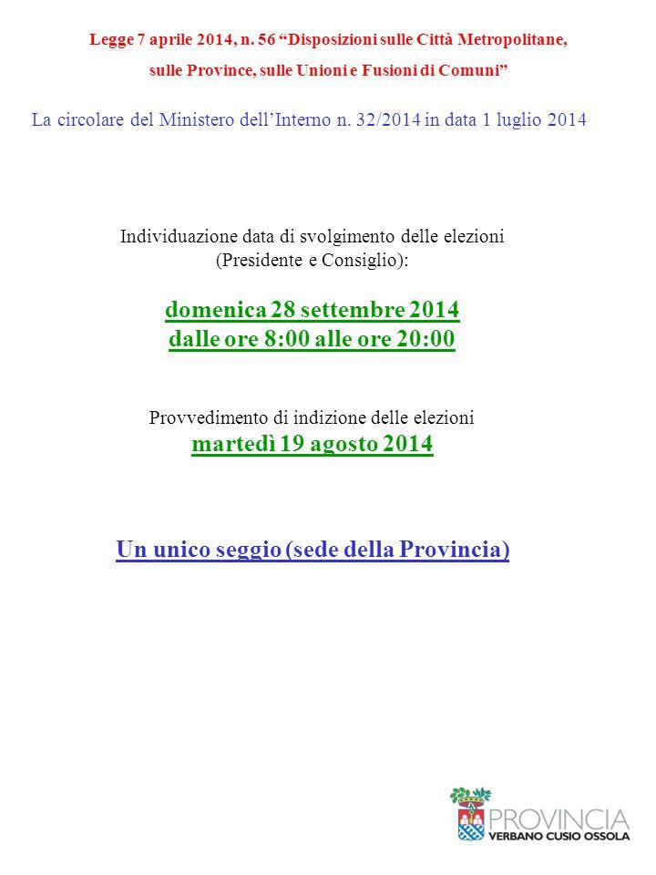 La circolare del Ministero dell'Interno n. 32/2014 in data 1 luglio 2014 Individuazione data di svolgimento delle elezioni (Presidente e Consiglio): d