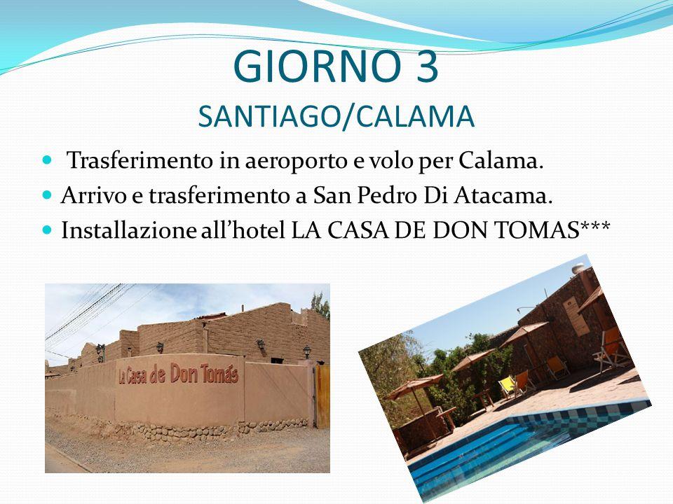 GIORNO 3 SANTIAGO/CALAMA Trasferimento in aeroporto e volo per Calama.