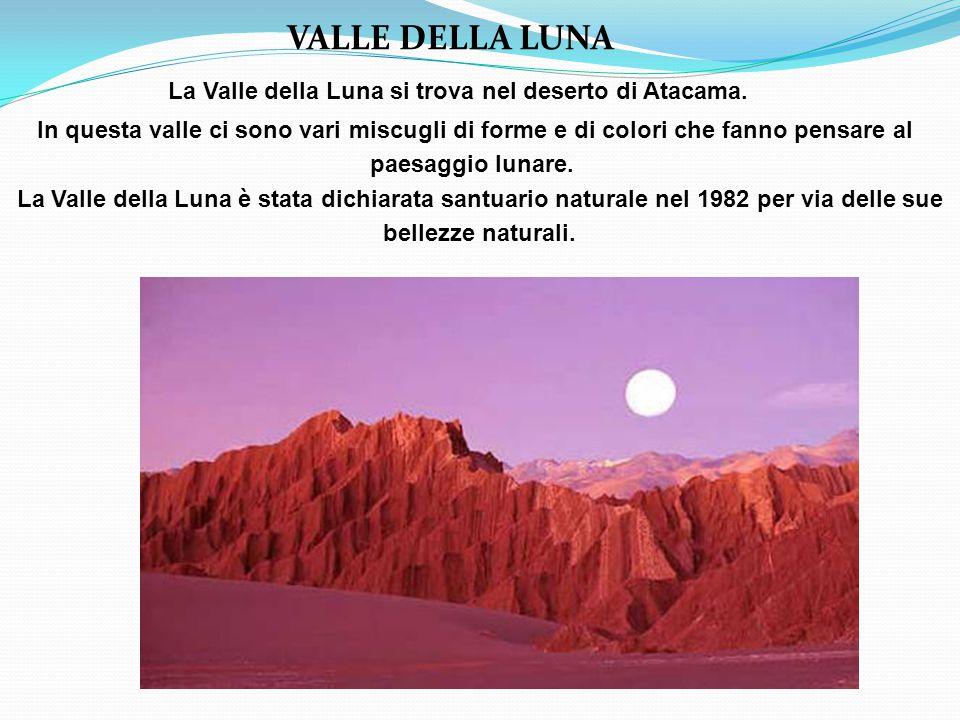 VALLE DELLA LUNA La Valle della Luna si trova nel deserto di Atacama.