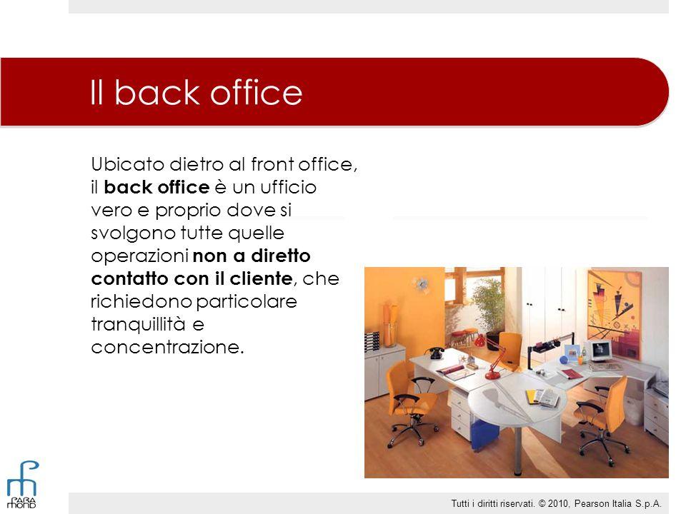 Ubicato dietro al front office, il back office è un ufficio vero e proprio dove si svolgono tutte quelle operazioni non a diretto contatto con il clie