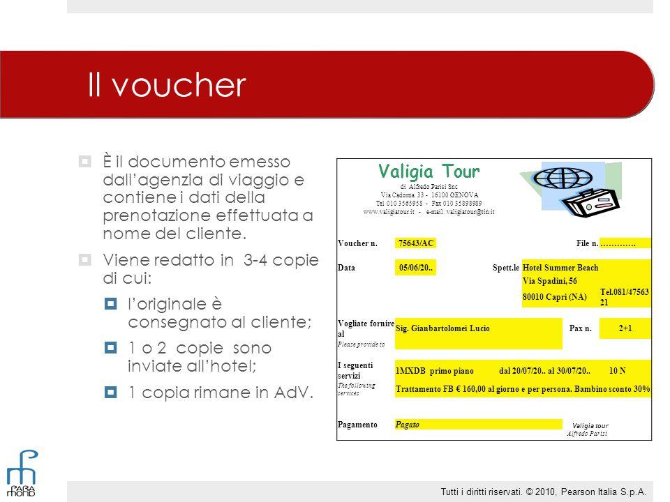 Il voucher  È il documento emesso dall'agenzia di viaggio e contiene i dati della prenotazione effettuata a nome del cliente.  Viene redatto in 3-4