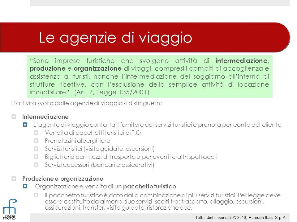 Le agenzie di viaggio L'attività svolta dalle agenzie di viaggio si distingue in:  Intermediazione  L'agente di viaggio contatta il fornitore dei se