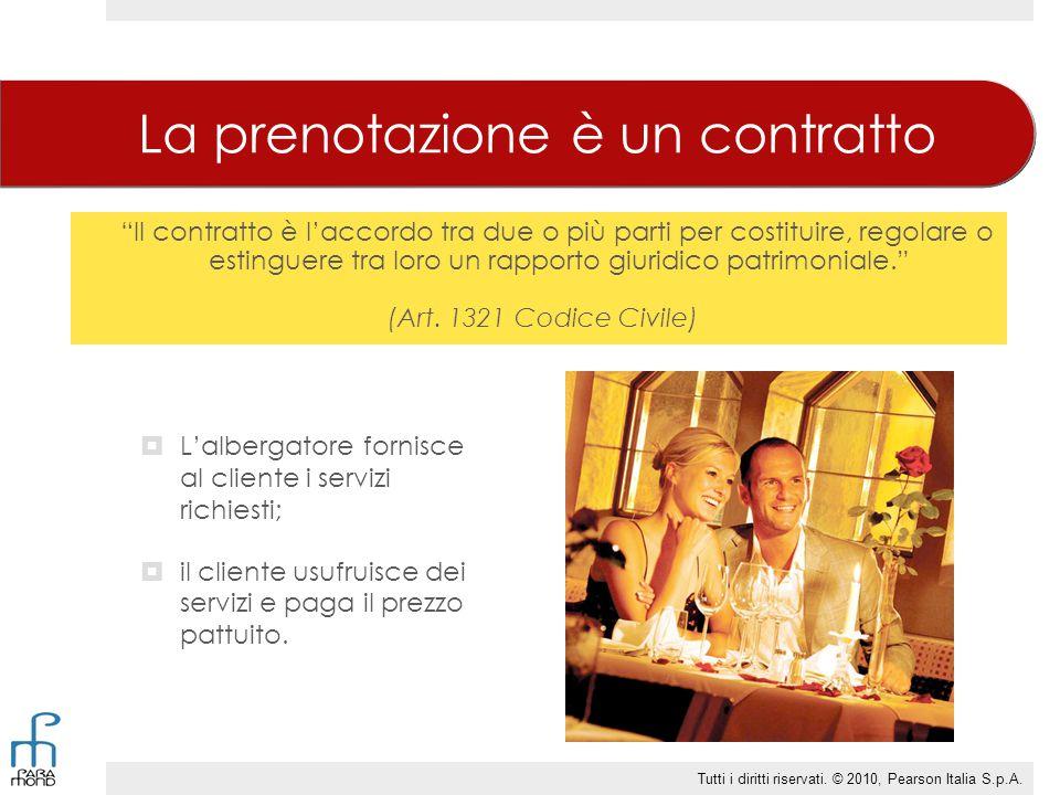 La prenotazione è un contratto LL'albergatore fornisce al cliente i servizi richiesti; iil cliente usufruisce dei servizi e paga il prezzo pattuit