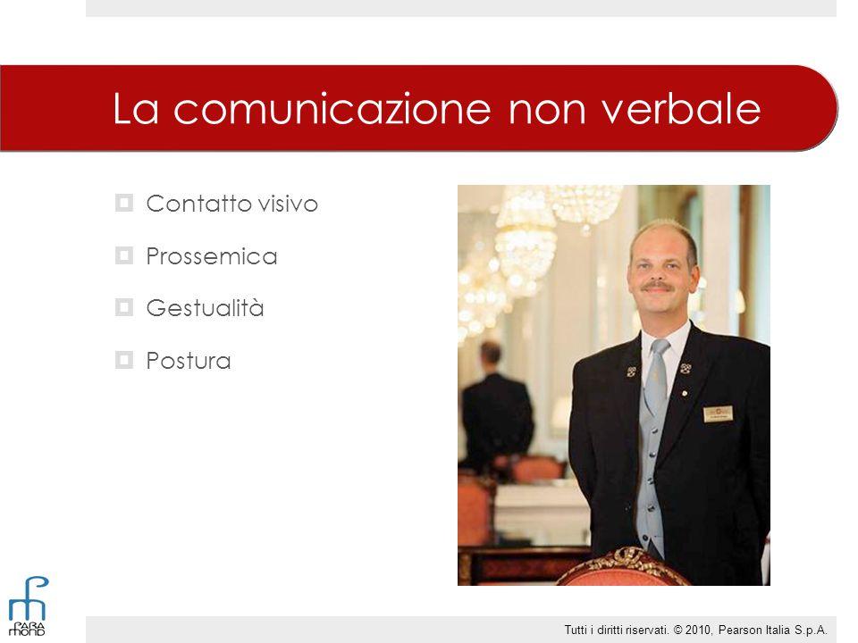 La comunicazione non verbale  Contatto visivo  Prossemica  Gestualità  Postura Tutti i diritti riservati.