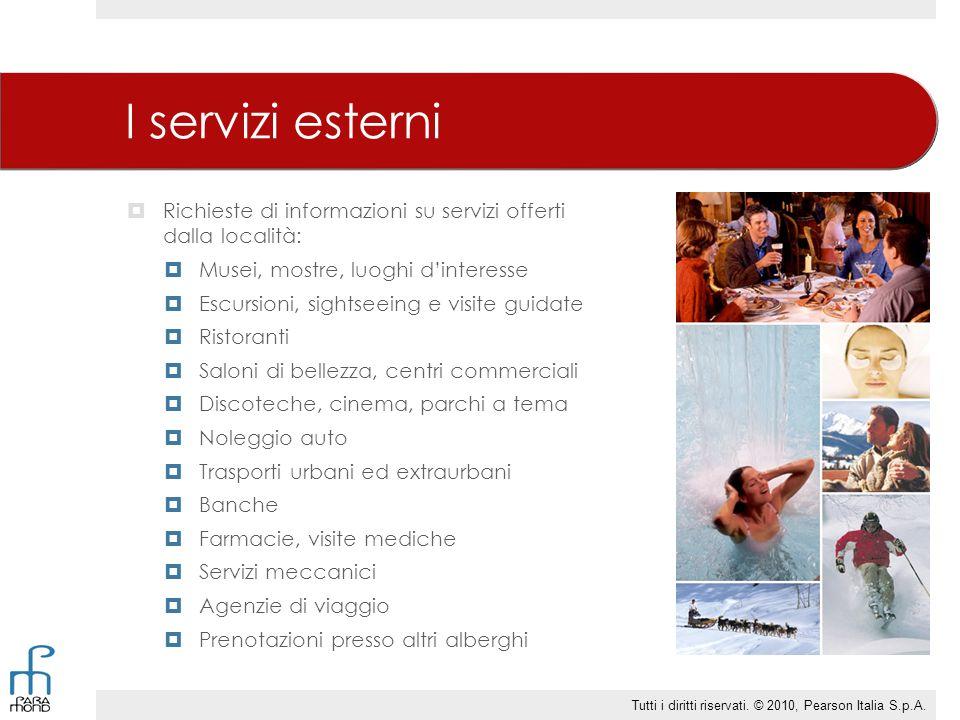 I servizi esterni  Richieste di informazioni su servizi offerti dalla località:  Musei, mostre, luoghi d'interesse  Escursioni, sightseeing e visit
