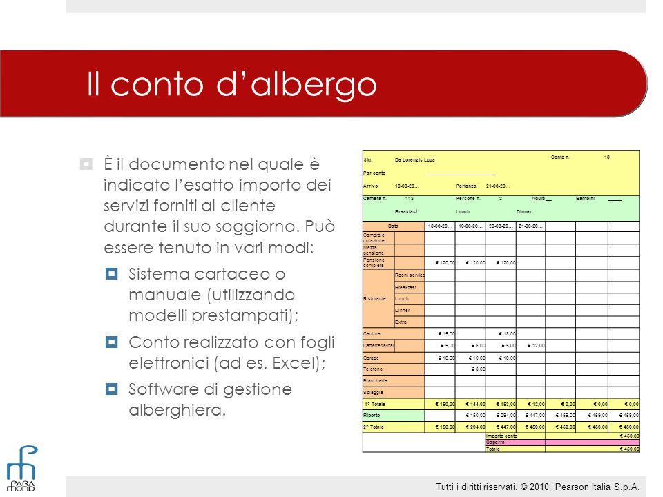 Il conto d'albergo  È il documento nel quale è indicato l'esatto importo dei servizi forniti al cliente durante il suo soggiorno. Può essere tenuto i