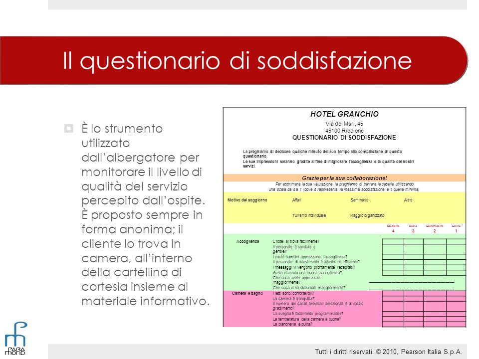 Il questionario di soddisfazione  È lo strumento utilizzato dall'albergatore per monitorare il livello di qualità del servizio percepito dall'ospite.
