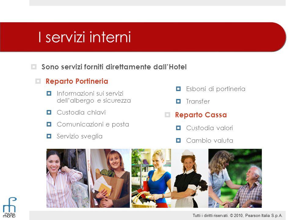 I servizi interni  Reparto Portineria  Informazioni sui servizi dell'albergo e sicurezza  Custodia chiavi  Comunicazioni e posta  Servizio svegli