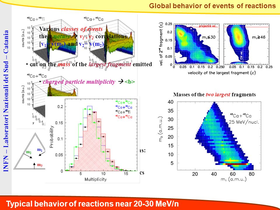 INFN – Laboratori Nazionali del Sud – Catania Global behavior of events of reactions m1m1 m2m2 m3m3 We observe mainly events as: ER emissions (1XL,2S) Binary-like (2L, 1S) Ternary (3M), low statistics Various classes of events their nature  v 1, v 2 correlations [v 1 = v(m 1 ) and v 2 = v(m 2 )], cut on the mass of the largest fragment emitted charged particle multiplicity  Typical behavior of reactions near 20-30 MeV/n Masses of the two largest fragments