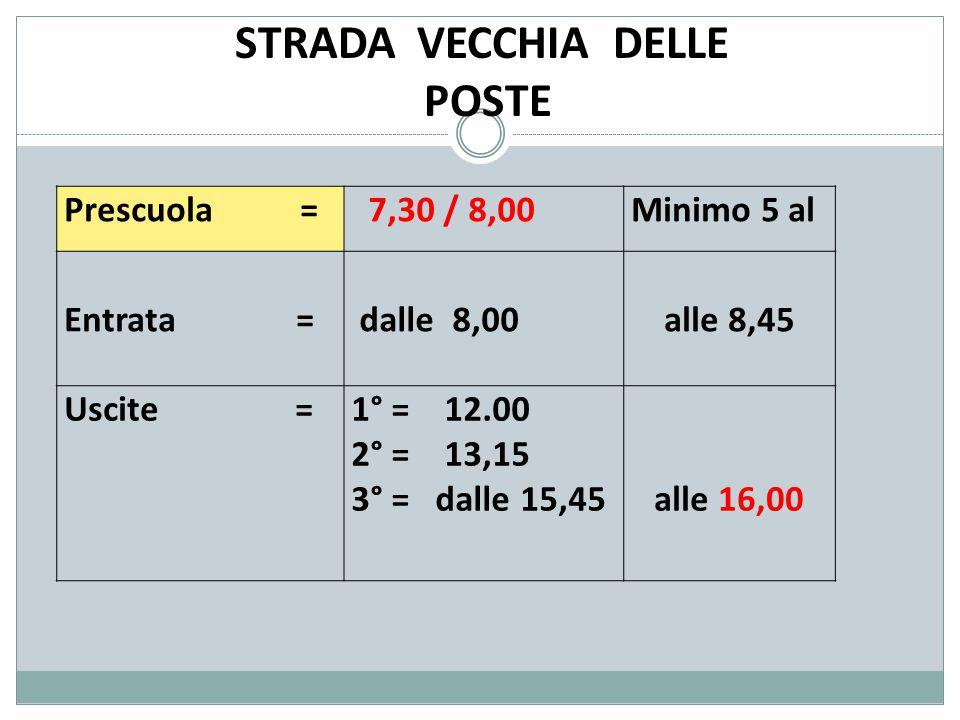 STRADA VECCHIA DELLE POSTE Prescuola = 7,30 / 8,00Minimo 5 al Entrata = dalle 8,00alle 8,45 Uscite =1° = 12.00 2° = 13,15 3° = dalle 15,45 alle 16,00