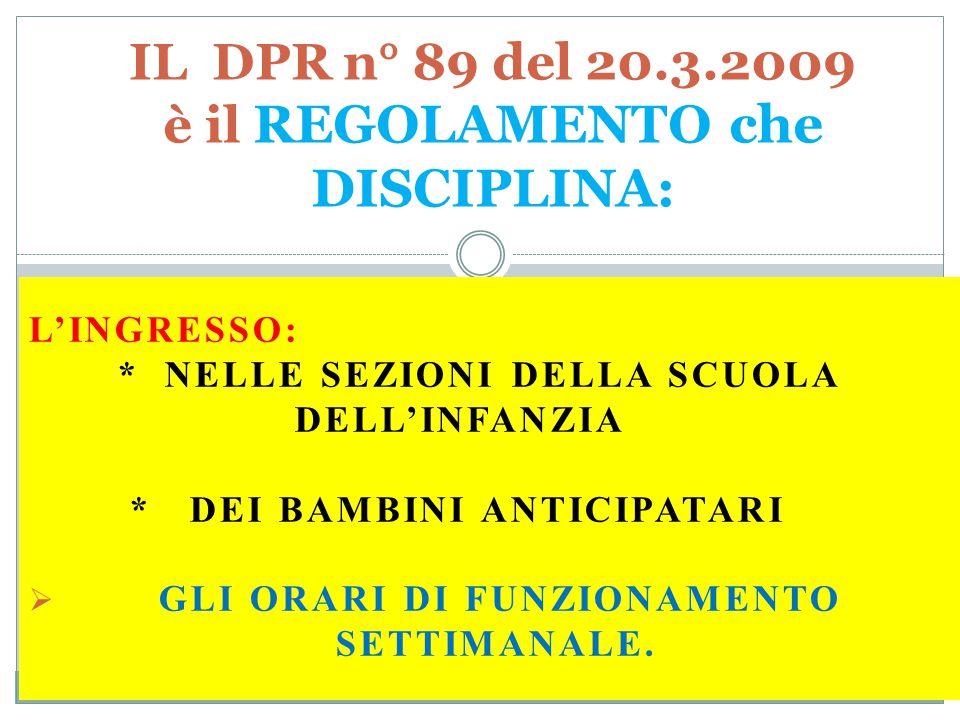 L'INGRESSO: * NELLE SEZIONI DELLA SCUOLA DELL'INFANZIA * DEI BAMBINI ANTICIPATARI  GLI ORARI DI FUNZIONAMENTO SETTIMANALE. IL DPR n° 89 del 20.3.2009