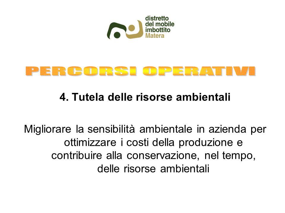 4. Tutela delle risorse ambientali Migliorare la sensibilità ambientale in azienda per ottimizzare i costi della produzione e contribuire alla conserv