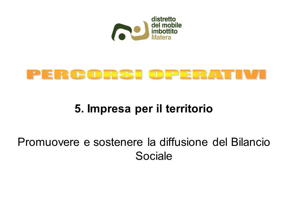 5. Impresa per il territorio Promuovere e sostenere la diffusione del Bilancio Sociale