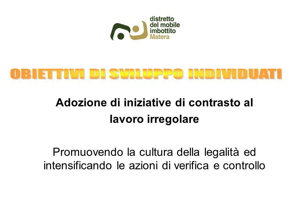Adozione di iniziative di contrasto al lavoro irregolare Promuovendo la cultura della legalità ed intensificando le azioni di verifica e controllo