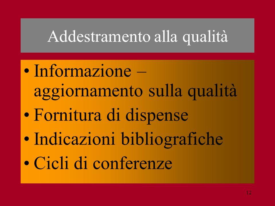 12 Informazione – aggiornamento sulla qualità Fornitura di dispense Indicazioni bibliografiche Cicli di conferenze Addestramento alla qualità
