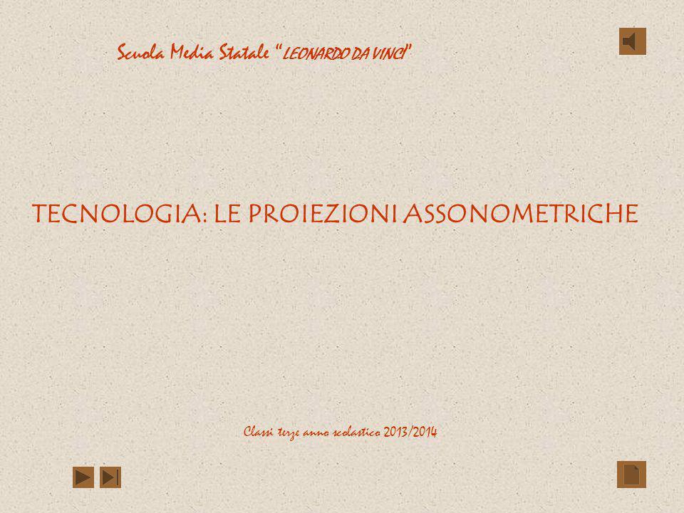 TECNOLOGIA: LE PROIEZIONI ASSONOMETRICHE Classi terze anno scolastico 2013/2014 Scuola Media Statale LEONARDO DA VINCI