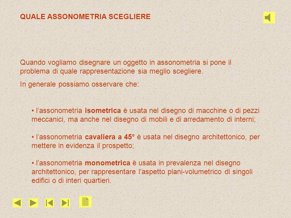 QUALE ASSONOMETRIA SCEGLIERE Quando vogliamo disegnare un oggetto in assonometria si pone il problema di quale rappresentazione sia meglio scegliere.