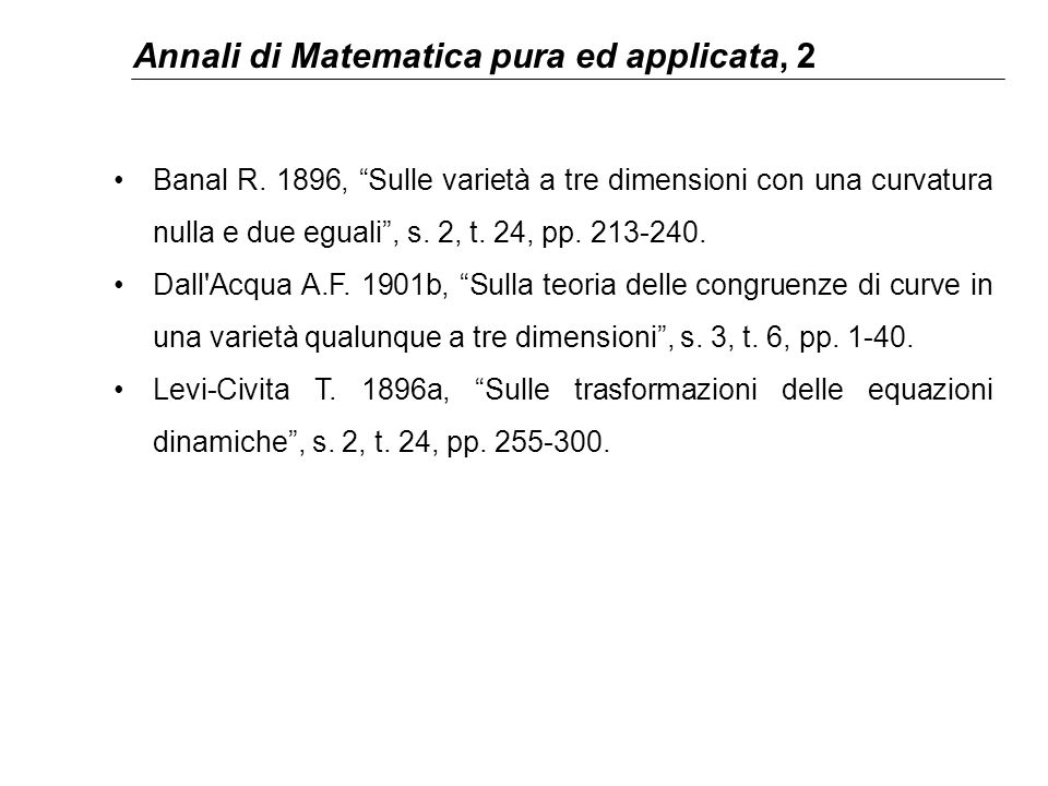 Annali di Matematica pura ed applicata, 2 Banal R.