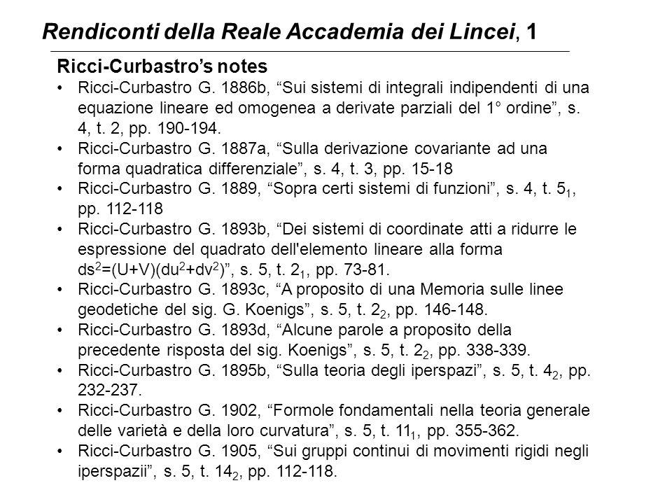 """Rendiconti della Reale Accademia dei Lincei, 1 Ricci-Curbastro's notes Ricci-Curbastro G. 1886b, """"Sui sistemi di integrali indipendenti di una equazio"""
