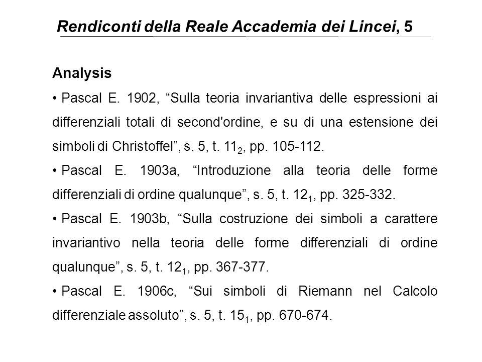 """Rendiconti della Reale Accademia dei Lincei, 5 Analysis Pascal E. 1902, """"Sulla teoria invariantiva delle espressioni ai differenziali totali di second"""
