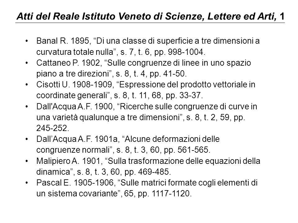 """Atti del Reale Istituto Veneto di Scienze, Lettere ed Arti, 1 Banal R. 1895, """"Di una classe di superficie a tre dimensioni a curvatura totale nulla"""","""