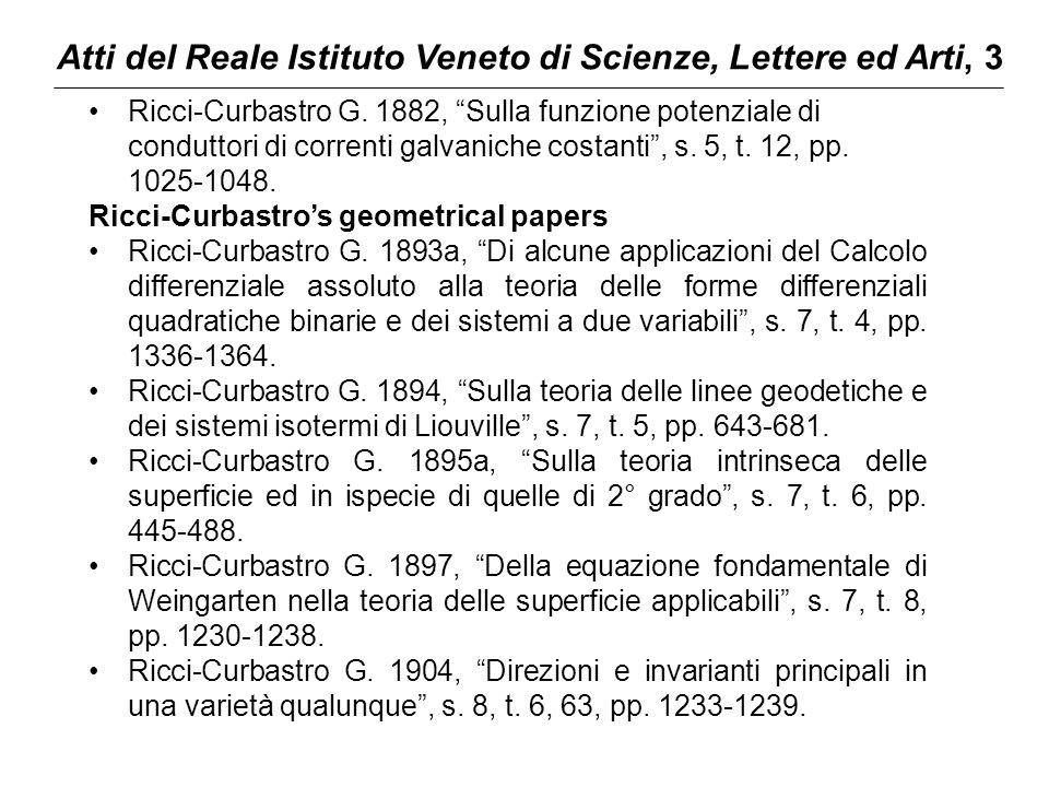 """Atti del Reale Istituto Veneto di Scienze, Lettere ed Arti, 3 Ricci-Curbastro G. 1882, """"Sulla funzione potenziale di conduttori di correnti galvaniche"""