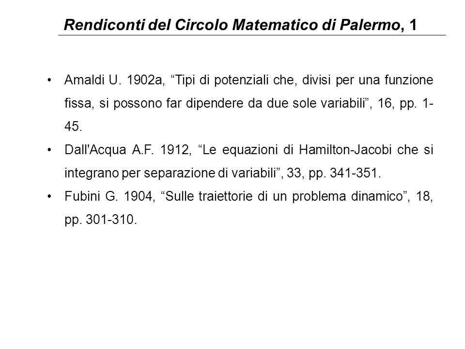 Rendiconti del Circolo Matematico di Palermo, 1 Amaldi U.