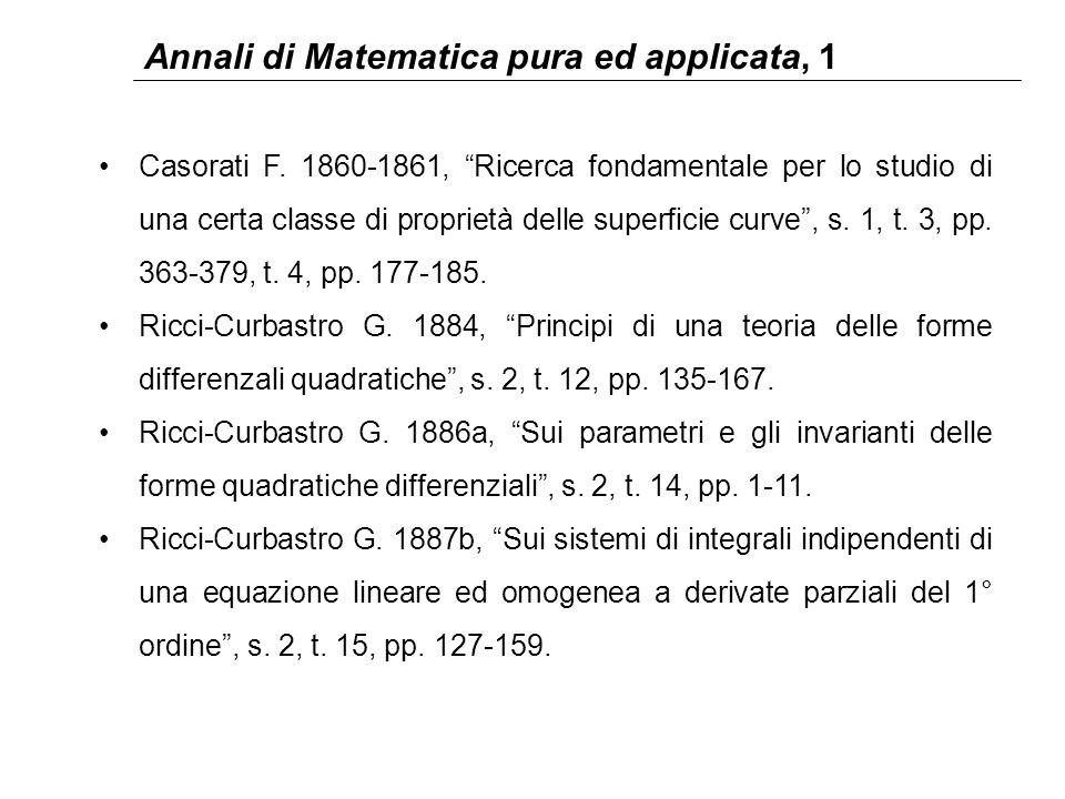 """Annali di Matematica pura ed applicata, 1 Casorati F. 1860-1861, """"Ricerca fondamentale per lo studio di una certa classe di proprietà delle superficie"""
