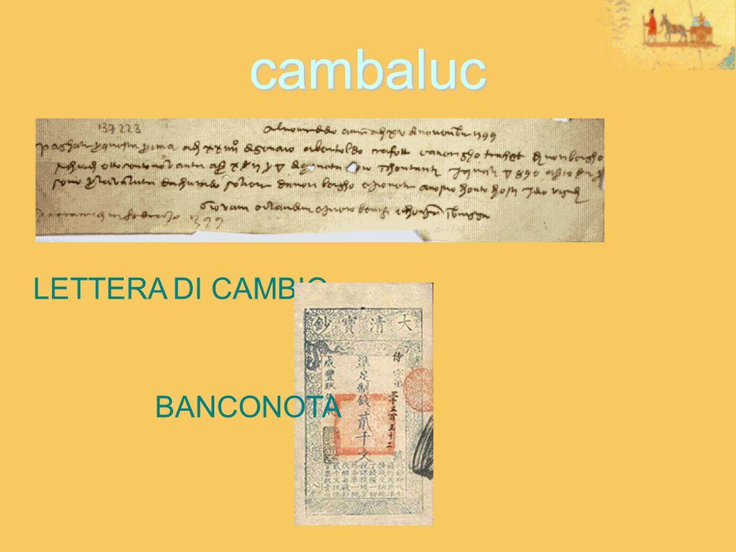 cambaluc LETTERA DI CAMBIO BANCONOTA