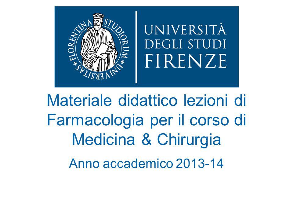 Materiale didattico lezioni di Farmacologia per il corso di Medicina & Chirurgia Anno accademico 2013-14