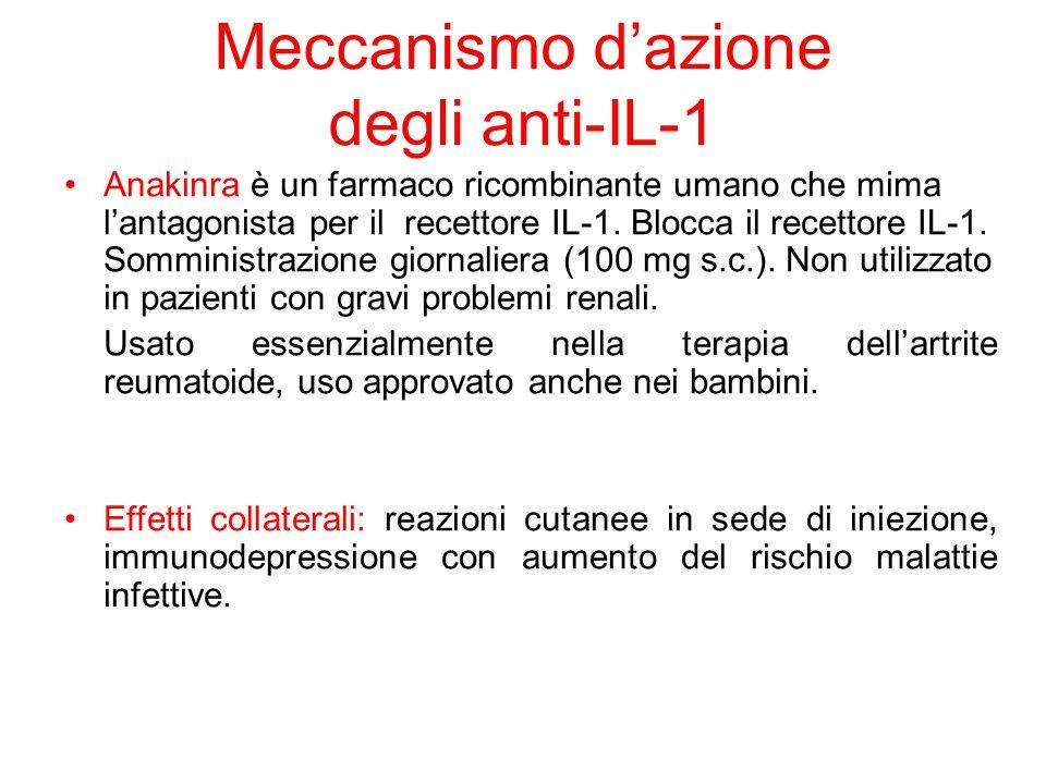 Meccanismo d'azione degli anti-IL-1 Anakinra è un farmaco ricombinante umano che mima l'antagonista per il recettore IL-1. Blocca il recettore IL-1. S