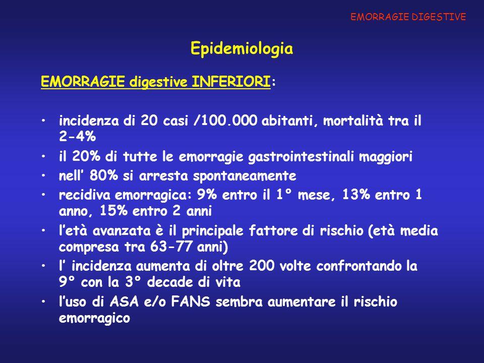 Epidemiologia EMORRAGIE digestive INFERIORI: incidenza di 20 casi /100.000 abitanti, mortalità tra il 2-4% il 20% di tutte le emorragie gastrointestin