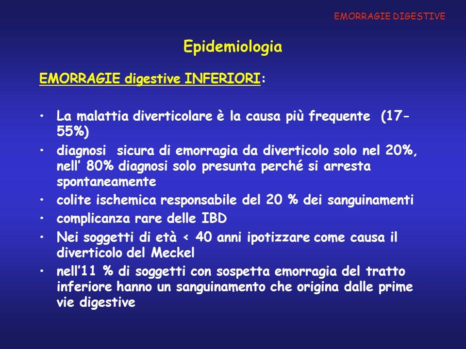 Epidemiologia EMORRAGIE digestive INFERIORI: La malattia diverticolare è la causa più frequente (17- 55%) diagnosi sicura di emorragia da diverticolo