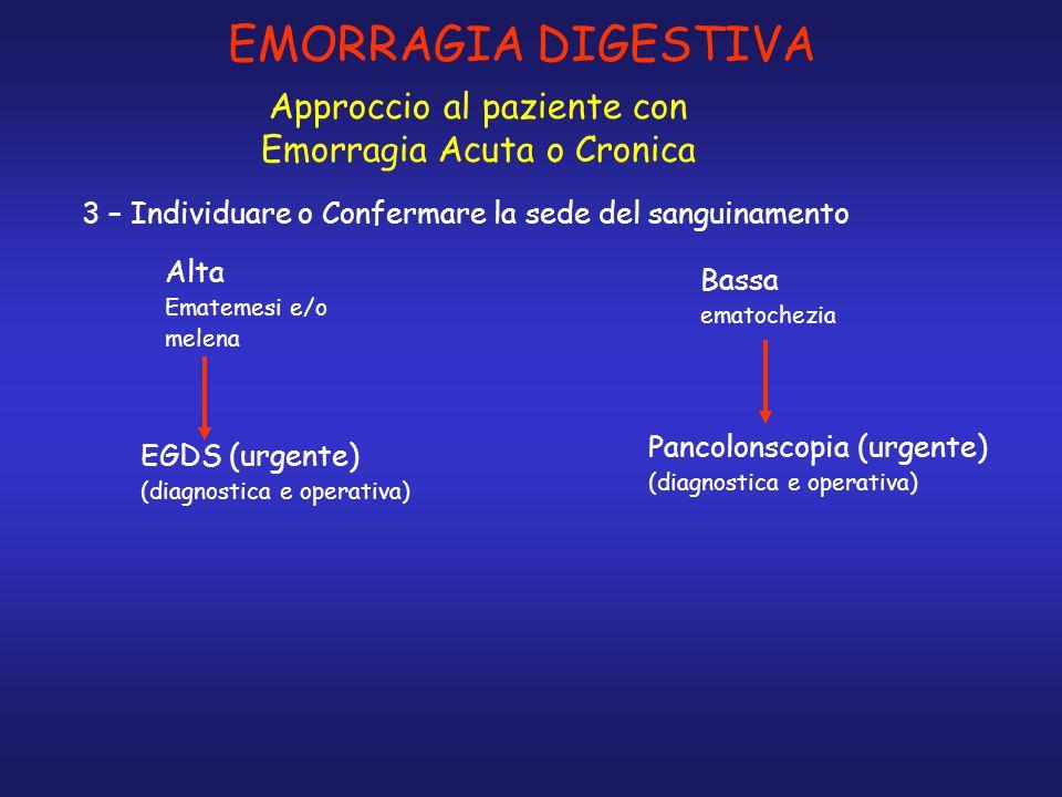 EMORRAGIA DIGESTIVA Approccio al paziente con Emorragia Acuta o Cronica 3 – Individuare o Confermare la sede del sanguinamento EGDS (urgente) (diagnos
