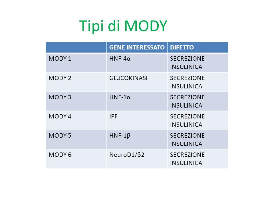 Tipi di MODY GENE INTERESSATODIFETTO MODY 1HNF-4αSECREZIONE INSULINICA MODY 2GLUCOKINASISECREZIONE INSULINICA MODY 3HNF-1αSECREZIONE INSULINICA MODY 4