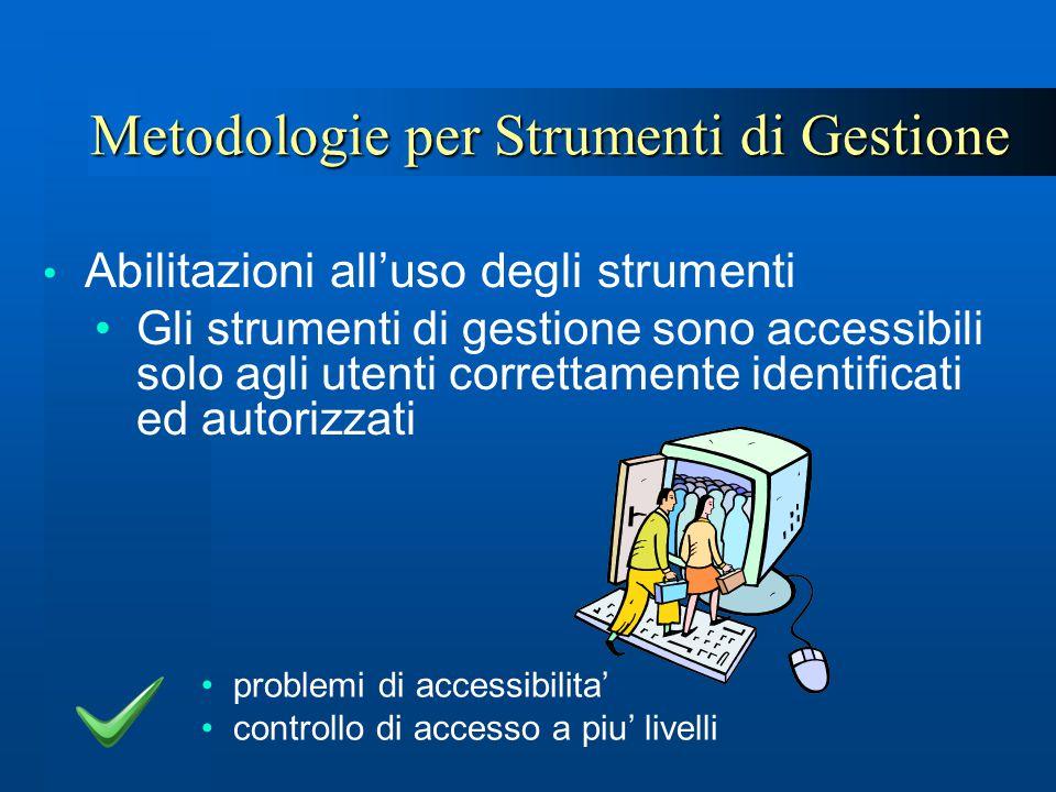 Metodologie per Strumenti di Gestione Abilitazioni all'uso degli strumenti Gli strumenti di gestione sono accessibili solo agli utenti correttamente i