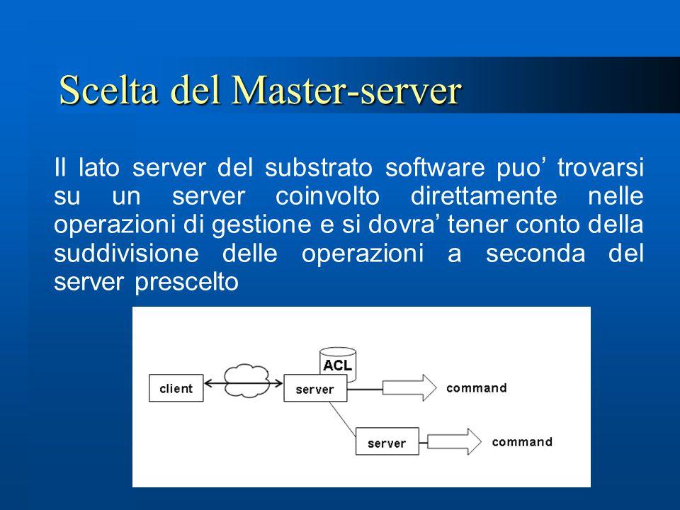 Scelta del Master-server Il lato server del substrato software puo' trovarsi su un server coinvolto direttamente nelle operazioni di gestione e si dov