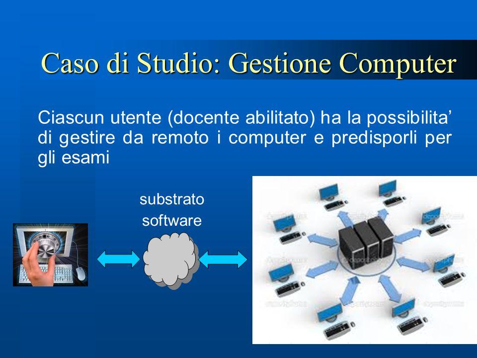 Caso di Studio: Gestione Computer Ciascun utente (docente abilitato) ha la possibilita' di gestire da remoto i computer e predisporli per gli esami su