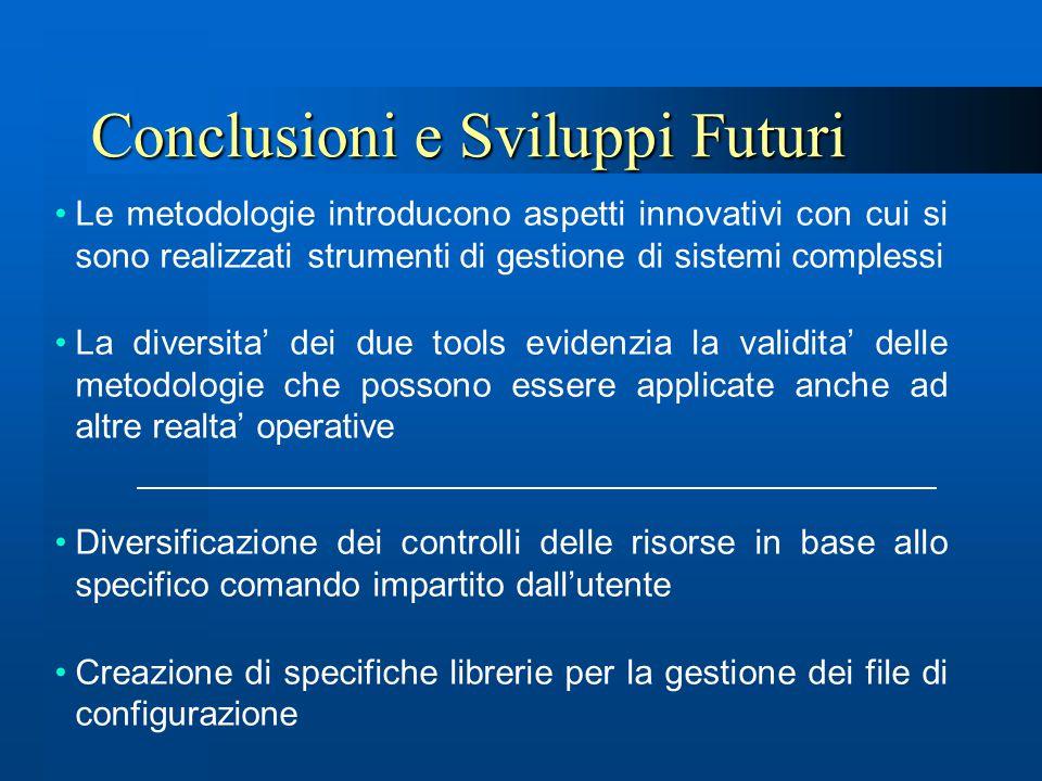 Conclusioni e Sviluppi Futuri Le metodologie introducono aspetti innovativi con cui si sono realizzati strumenti di gestione di sistemi complessi La d