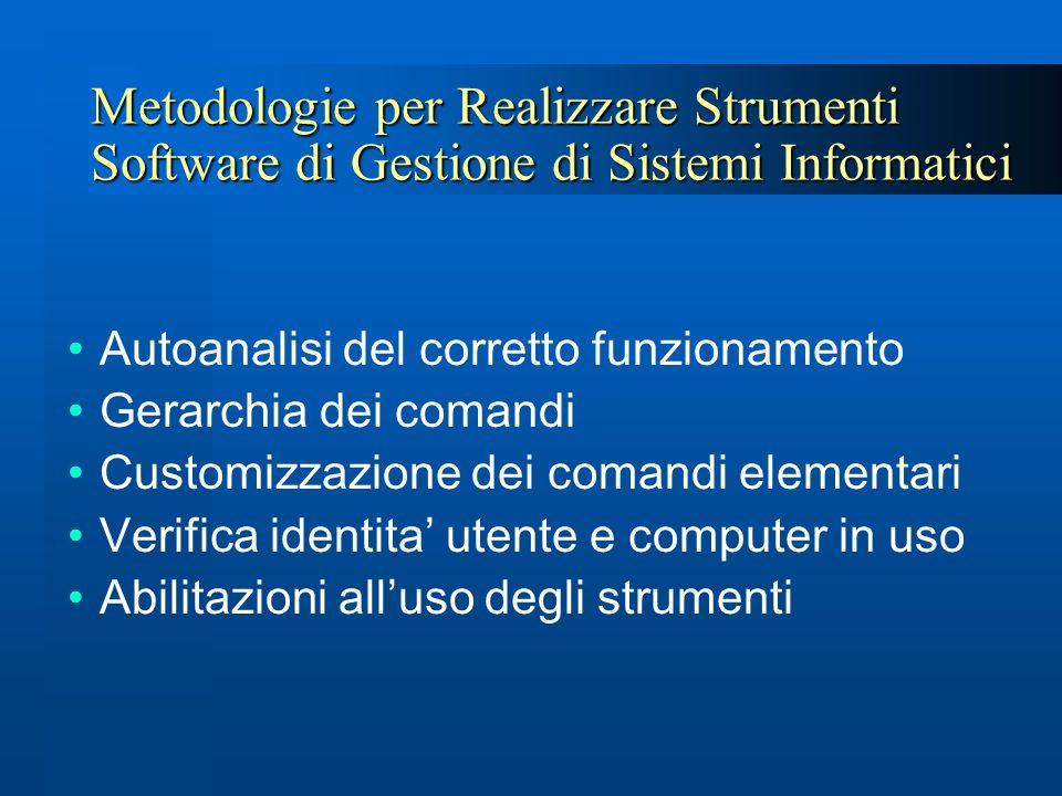 Metodologie per Realizzare Strumenti Software di Gestione di Sistemi Informatici Autoanalisi del corretto funzionamento Gerarchia dei comandi Customiz
