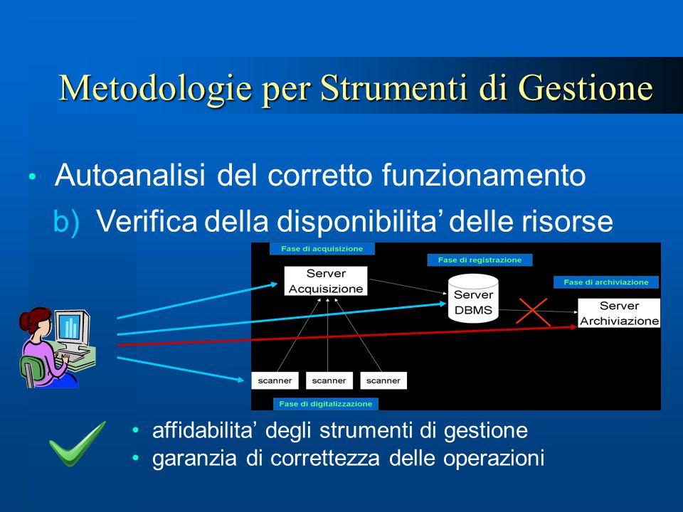 Metodologie per Strumenti di Gestione Autoanalisi del corretto funzionamento affidabilita' degli strumenti di gestione garanzia di correttezza delle o