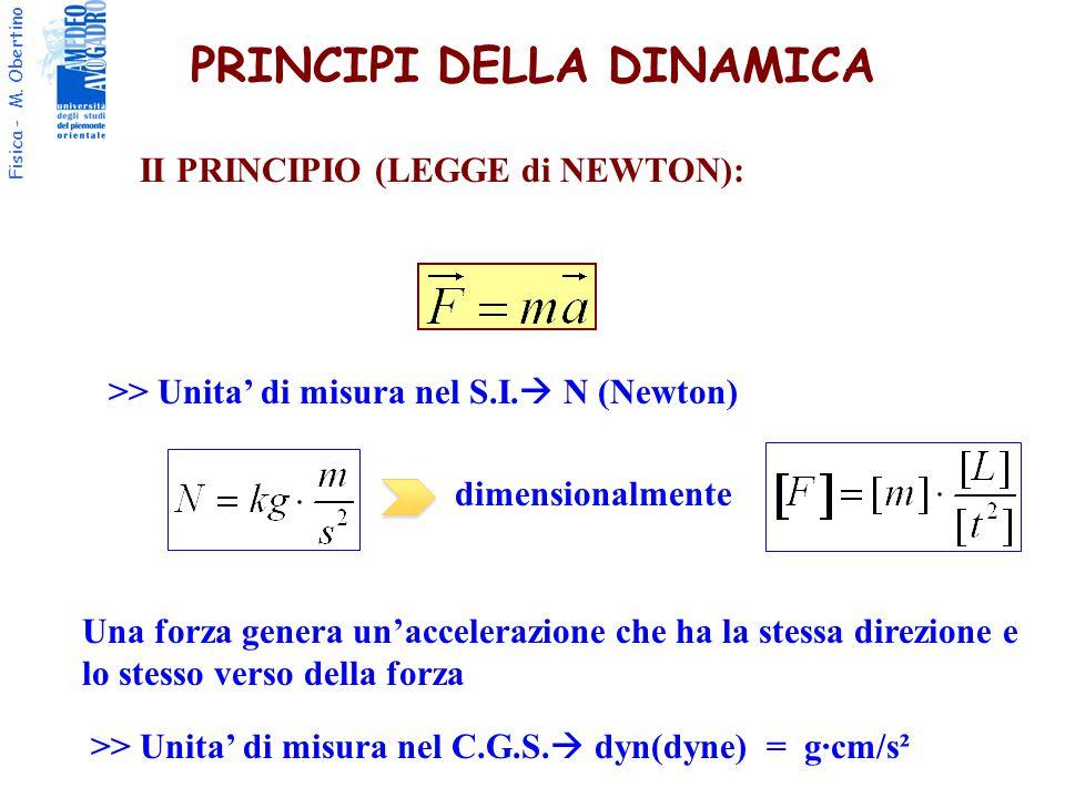 Fisica - M. Obertino PRINCIPI DELLA DINAMICA II PRINCIPIO (LEGGE di NEWTON): >> Unita' di misura nel S.I.  N (Newton) dimensionalmente Una forza gene