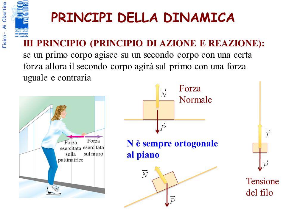 Fisica - M. Obertino PRINCIPI DELLA DINAMICA III PRINCIPIO (PRINCIPIO DI AZIONE E REAZIONE): se un primo corpo agisce su un secondo corpo con una cert